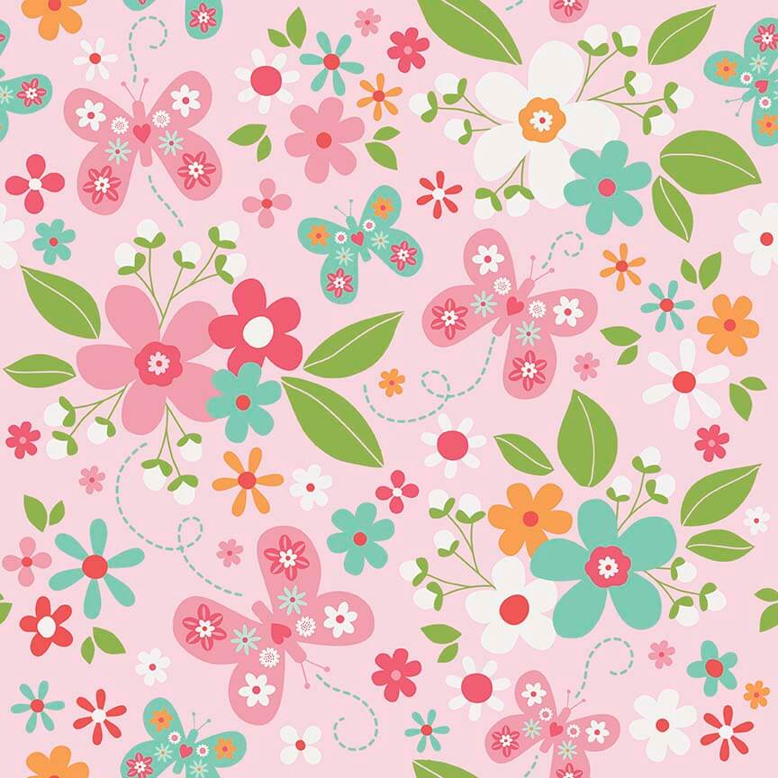 riley blake designs garden girl main pink