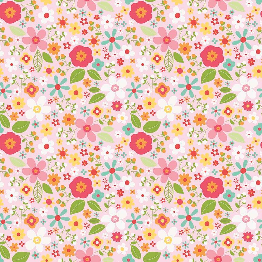 riley blake designs garden girl floral pink