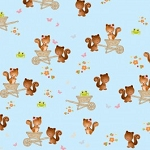 Camelot Fabrics - Forest Friends Squirrels in Blue