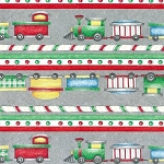 South Seas - Holiday Express Train Ticking Stripe on Grey  *** REMNANT 2.82 METRE PIECE ***