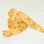 Printed Floral Satin Ribbon - Spring Garden - Sunset 25mm