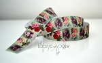 Printed Grosgrain Ribbon - Vintage Rose - 22mm