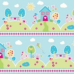 Riley Blake Designs - Sweet Home by Melly & Me - Main Houses in Blue