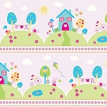 Riley Blake Designs - Sweet Home by Melly & Me - Main Houses in Pink