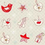 Studio E - Joy, Love, Peace by Lucie Crovatto - Christmas Ornaments in Beige