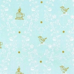 Michael Miller - Wee Sparkle - Free Bird in Mist with Gold metallic accents