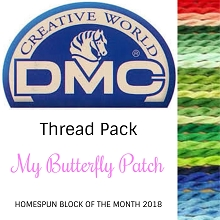 Homespun BOM 2018 - My Butterfly Patch DMC THREAD PACK 41 pieces