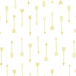 Michael Miller - Arrow Flight - Arrows in Bright White with Gold metallic accents