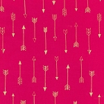 Michael Miller - Arrow Flight - Arrows in Fuchsia with Gold metallic accents