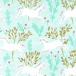 Michael Miller - Magic by Sarah Jane - Unicorn Forest in Aqua with Metallic Gold