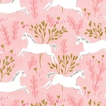 Michael Miller - Magic by Sarah Jane - Unicorn Forest in Blossom with Metallic Gold