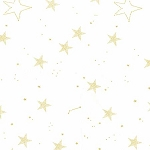Michael Miller - Magic by Sarah Jane - Lucky Stars in White with Metallic Gold