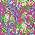 Freespirit - Tula Pink - Tabby Road - Disco Kitty in Berry *** REMNANT PIECE 59CM X 112CM ***