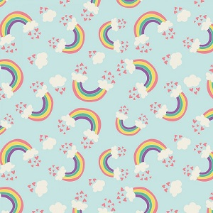 Camelot Fabrics - I Believe In Unicorns - Rainbows & Hearts in Aqua