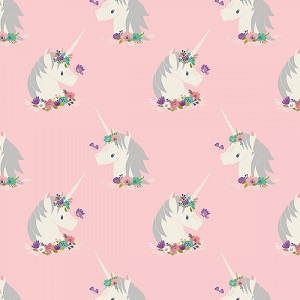 Camelot Fabrics - I Believe In Unicorns - Unicorns in Pink