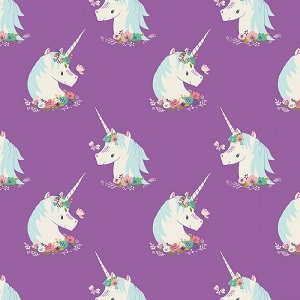 Camelot Fabrics - I Believe In Unicorns - Unicorns in Orchid