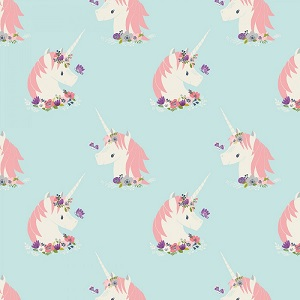 Camelot Fabrics - I Believe In Unicorns - Unicorns in Aqua