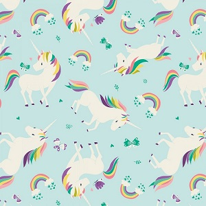 Camelot Fabrics - I Believe In Unicorns - Unicorns & Rainbows in Aqua