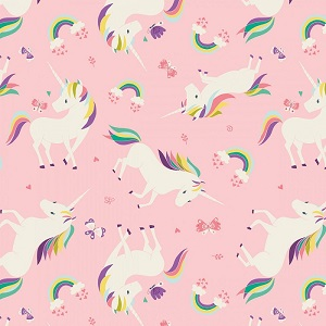Camelot Fabrics - I Believe In Unicorns - Unicorns & Rainbows in Pink
