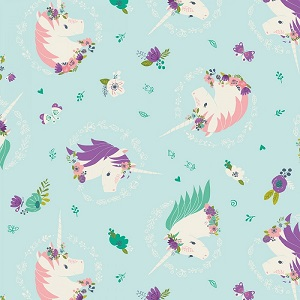 Camelot Fabrics - I Believe In Unicorns - Unicorns & Flowers in Aqua