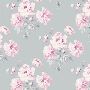 Camelot Fabrics - The Grace Collection by Laura Ashley - Peonies in Light Grey *** REMNANT PIECE 44CM X 112CM ***