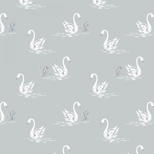 Camelot Fabrics - The Grace Collection by Laura Ashley - Swans in Light Grey