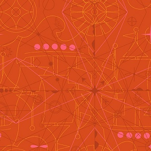 Andover Fabrics - Sun Print 2018 Compass in Marmalade *** REMNANT PIECE 57CM X 112CM ***
