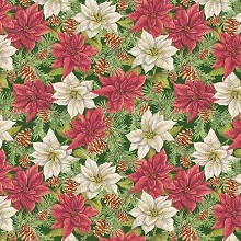 Penny Rose Fabrics - Anne of Green Gables Christmas - Poinsettias Green