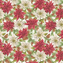 Penny Rose Fabrics - Anne of Green Gables Christmas - Poinsettias White