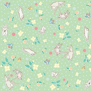 Penny Rose Fabrics - Bunnies and Blossoms Main Mint