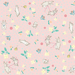 Penny Rose Fabrics - Bunnies and Blossoms Main Pink