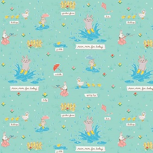 Penny Rose Fabrics - Bunnies and Blossoms Puddles Teal