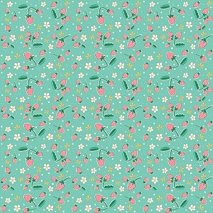 Penny Rose Fabrics - Bunnies and Blossoms Strawberries Teal