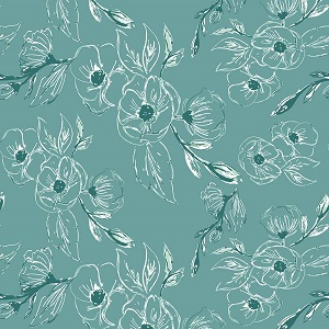 Riley Blake Designs - Grandale Carnation Teal *** PREORDER ARRIVING MAY ***