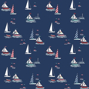Riley Blake Designs - Seaside Boats in Navy *** MORE ARRIVING NOVEMBER - SIGN UP TO THE WAITING LIST ***