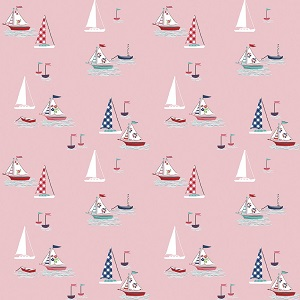 Riley Blake Designs - Seaside Boats in Pink *** MORE ARRIVING NOVEMBER - SIGN UP TO THE WAITING LIST ***