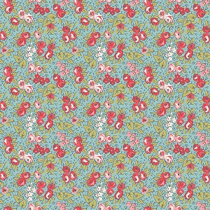 Penny Rose Fabrics - Linen and Lawn Floral in Blue - 137cm wide *** REMNANT PIECE 88CM X 137CM ***