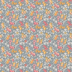 Penny Rose Fabrics - Linen and Lawn Floral in Gray - 137cm wide *** REMNANT PIECE 93CM X 137CM ***