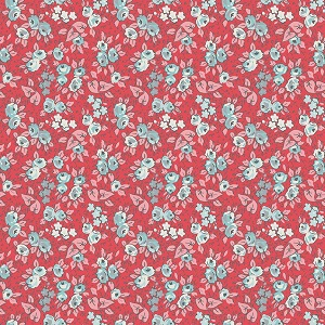Penny Rose Fabrics - Linen and Lawn Floral in Red - 137cm wide *** REMNANT PIECE 40CM X 137CM ***