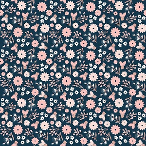 Riley Blake Designs - Blush Floral Blue Sparkle *** PREORDER ARRIVING APRIL ***
