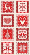 Andover - Scandi Christmas - Squares Panel in Red