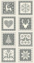 Andover - Scandi Christmas - Squares Panel in Silver