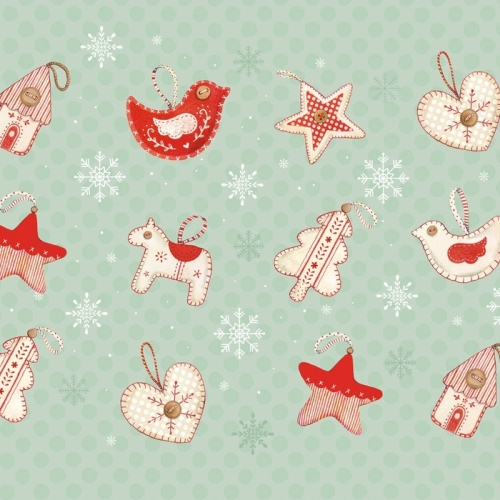Studio E - Joy, Love, Peace by Lucie Crovatto - Christmas Ornaments in Mint