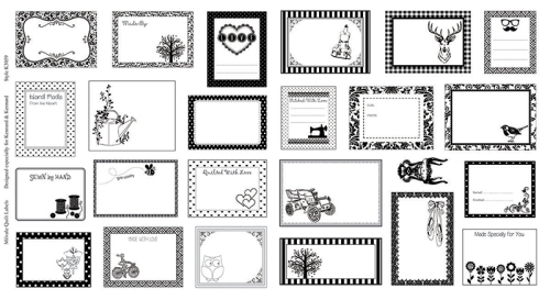 Milvale Quilt Labels Panel - Black and White