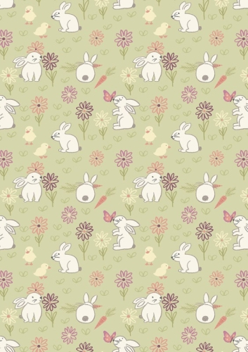 Lewis and Irene - Bunny Garden - Bunny Adventure on Pale Green *** REMNANT 1.4 METRE PIECE ***