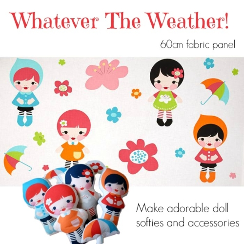 Robert Kaufman - Whatever The Weather Doll Softie Panel in Rainbow - 60cm