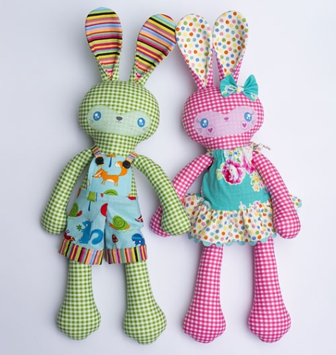 Melly and Me - Benny and Boo Softie Pattern and Pre-printed Faces