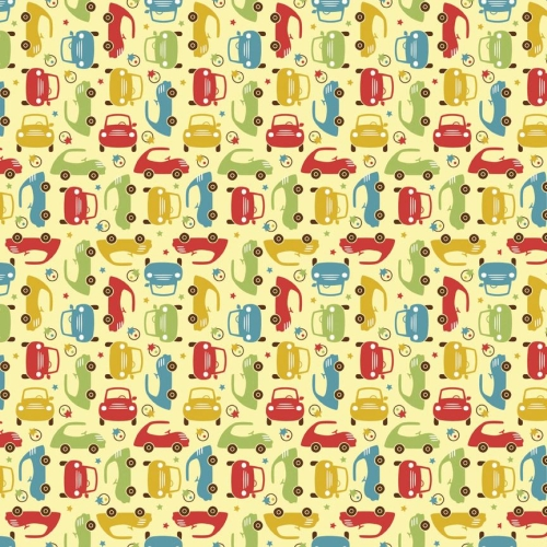 Riley Blake - Cruiser Mini Cars in Yellow *** REMNANT 3 METRE PIECE ***