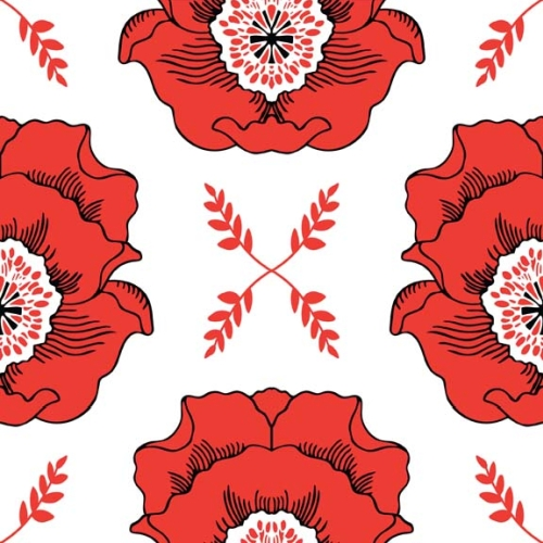 Riley Blake Designs - Mod Studio - Main in Red *** REMNANT 2.75 METRE PIECE ***