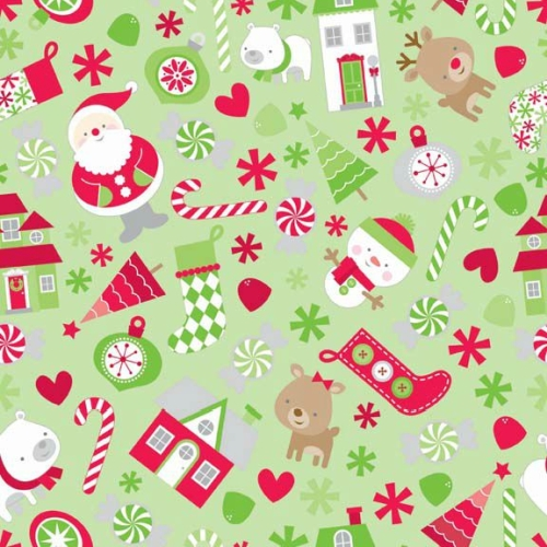 Riley Blake Designs - Home for The Holidays Main in Green